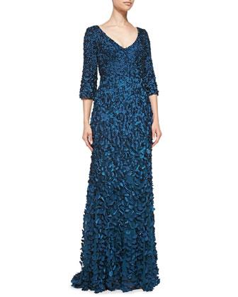 3/4-Sleeve Beaded Petal Gown