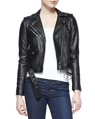 Cropped Belted Moto Jacket & Scoop-Neck Slim Tank