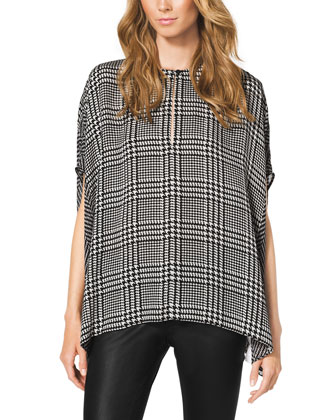 Verona Houndstooth-Print Loose Top