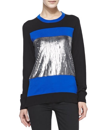 Sequined-Center Colorblock Sweater