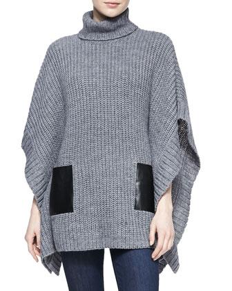 Leather-Pocket Knit Poncho