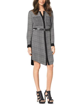 Houndstooth-Print Flowy Shirtdress