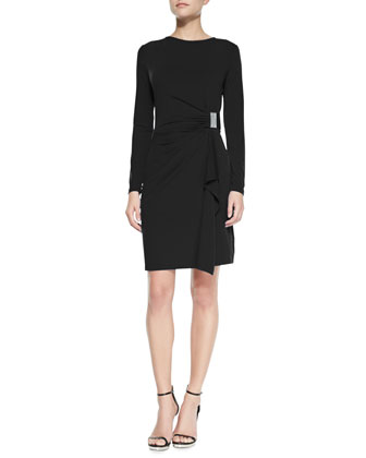 Long-Sleeve Faux-Wrap Logo-Plate Dress