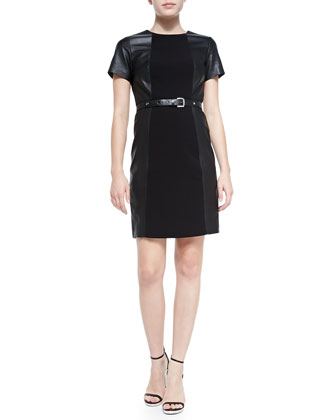 Leather Combo Belted Structured Dress, Black