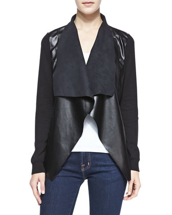 Draped Leather/Jersey Jacket, Women's