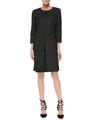 Leopard-Print Coat & Solid Sheath Dress Set