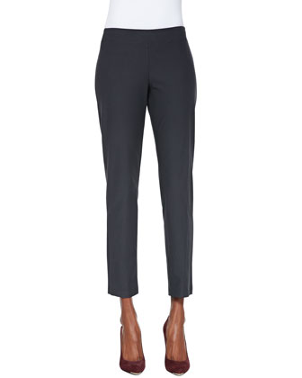 Washable Crepe Slim Ankle Pants, Graphite, Petite