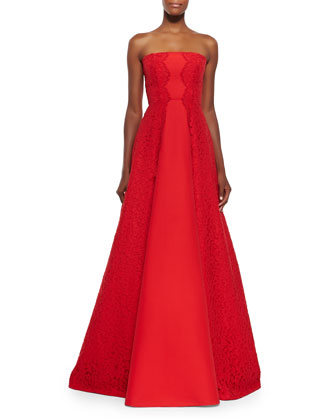 Neuss Strapless Gown w/ Lace Sides