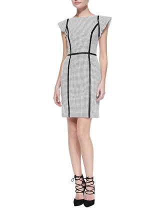 Perforated Leather Dress with Strips