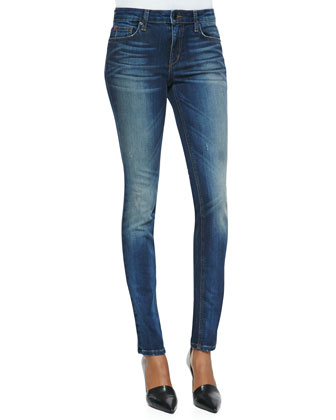 Haru Faded Mid-Rise Skinny Jeans, Dark Blue