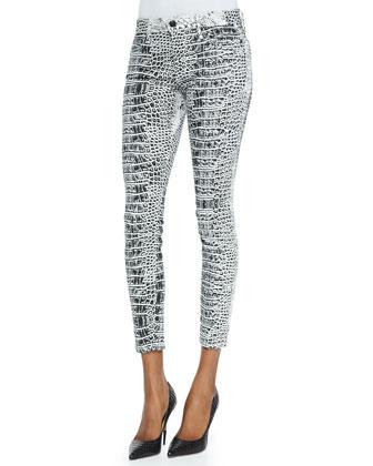 Croc-Print Mid-Rise Legging Jeans
