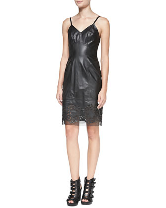 Spaghetti Strap Leather Dress with Eyelet Hem
