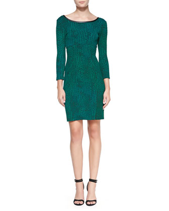 3/4-Sleeve Reptile-Print Dress with Faux-Leather Neck
