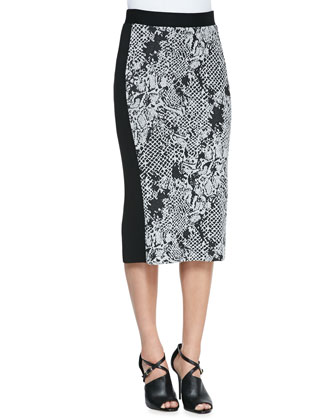 Cobra-Print-Front Midi Skirt