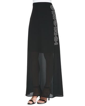 Tribal-Print-Side Maxi Skirt