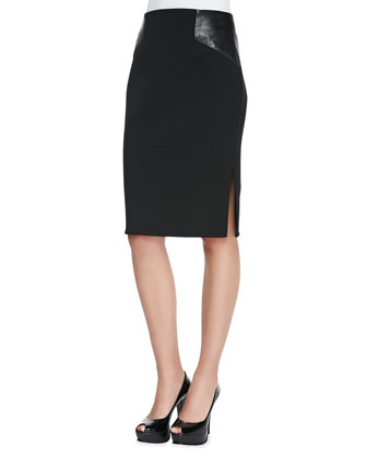 Nikki Cap-Sleeve Blouse & Leather-Paneled Pencil Skirt