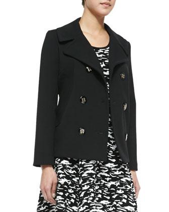 Bonded Crepe Pea Coat & Camo-Print Jacquard Flare Dress
