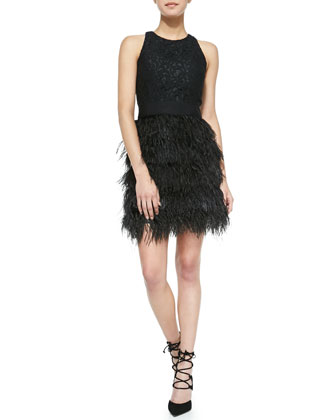 Blair Sleeveless Feather-Skirt Dress