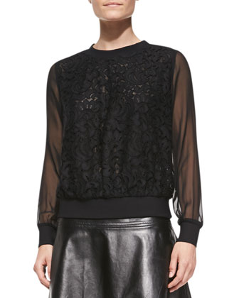Floral Lace Sweatshirt with Sheer Sleeves