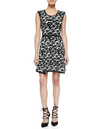 Camo-Print Jacquard Flare Dress