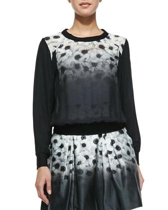 Camellia Silk-Overlay Sweatshirt & Katie Pleated Floral-Print Skirt