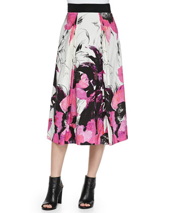 Winter Orchid-Print Tea-Length Skirt