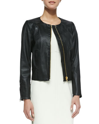 Front-Zip Leather Jacket & Multi-Zip Sleeveless Sheath Dress