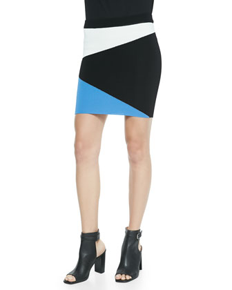 Torn Mali Asymmetric Colorblock Mini Skirt, Blue/White/Black