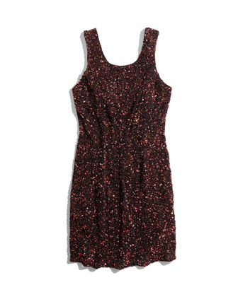 Kenzie Allover Beaded Sheath Dress, Copper