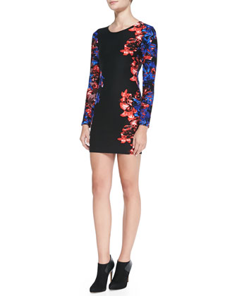 Mariel Floral Print Cutout Sheath Dress, Black/Blue/Red