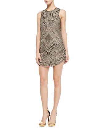 Allegra Geometric Beaded Dress, Taupe