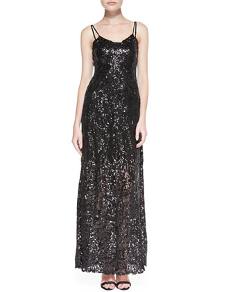 Spaghetti-Strap Sequined Lace Overlay Gown