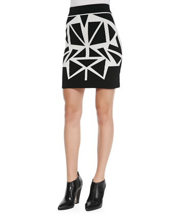 Mikey Geometric Contrast Pencil Skirt, Black/Ivory