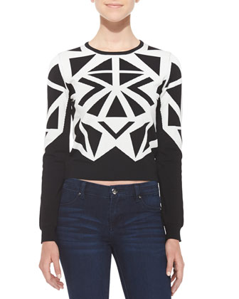 Mila Triangle-Print Contrast Crop Sweater, Ivory/Black
