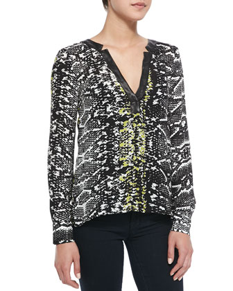 Daniela Snake-Print Leather-Trim Top, Black Snake Lace
