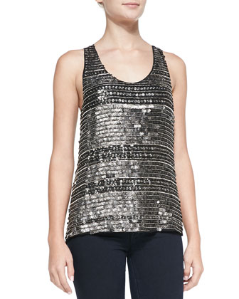 Ginger Beaded Sequin Stripe Tank, Gunmetal