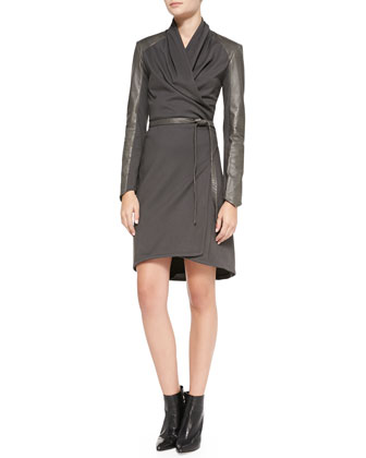 Leather-Trim Wrap Dress, Gray