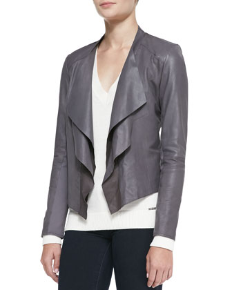 Cascade-Front Leather Jacket, Gray