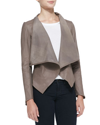 Asymmetric Cowl-Neck Leather Jacket, Camel