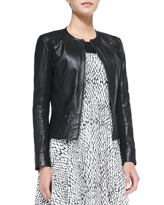 Camilla Mixed-Media Leather Jacket, Black