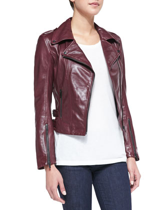 Joanna Asymmetric Leather Jacket, Burgundy