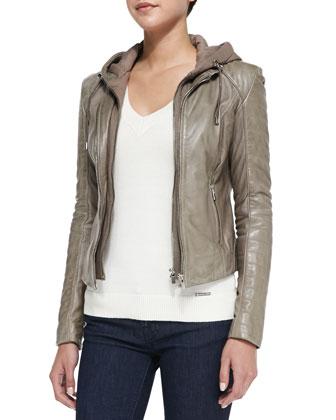 Caroline Hoodie Biker Jacket, Camel