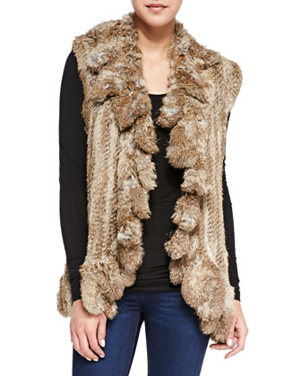 Ruffled Open-Front Fur Vest, Natural