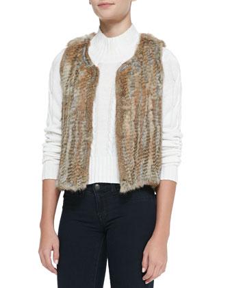 Sleeveless Short Fur Vest, Black