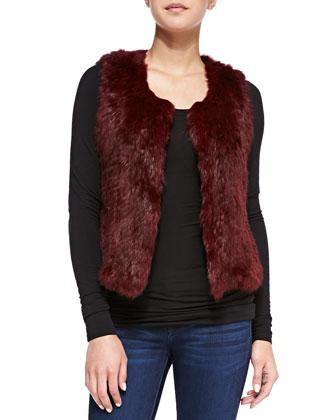 Sleeveless Short Fur Vest, Burgundy