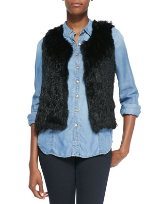Sleeveless Short Fur Vest, Black