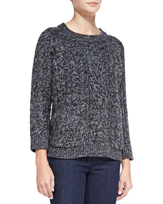 Cable-Knit Double-Pocket Sweater, Dark Gray