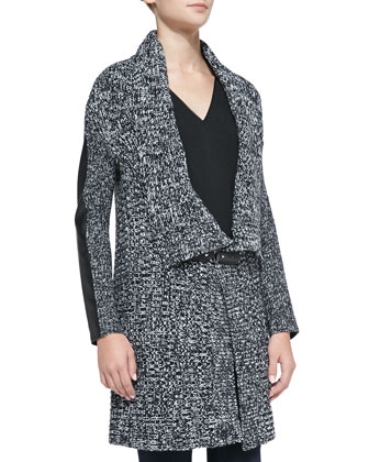 Vegan Leather Inset Peppered-Knit Cardigan, Black/White