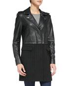 Alexa Combo Faux-Leather/Herringbone Coat, Black