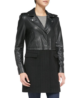 Alexa Combo Faux-Leather/Herringbone Coat, Black